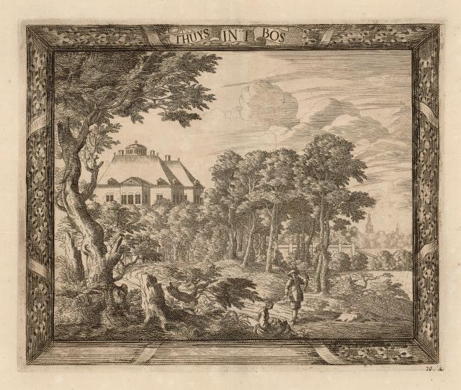 Gravure by Cornelis Elandts (1663-1670) with a falconer in the fore front