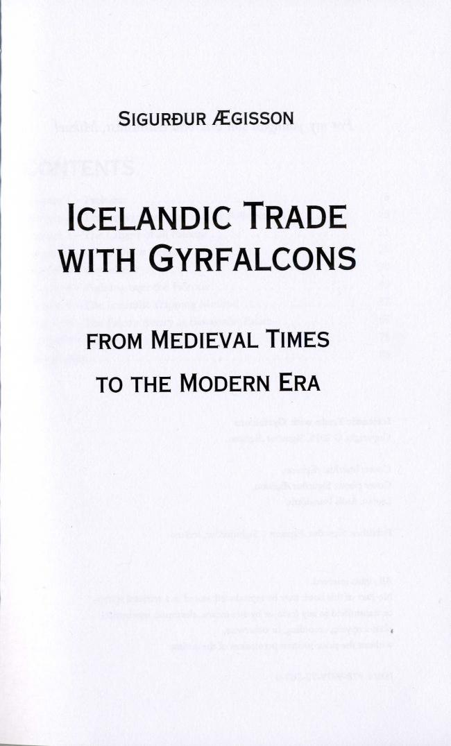 Icelandic trade with gyrfalcons: from medieval times to the modern era - M