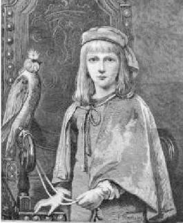 Antique Print of Little Falconer By F Moscheles Young Girl Falcon 1889