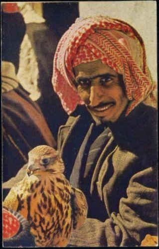 Kuwaiti falconer on homemade postcard from 1982