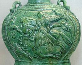 Vase with hunting with eagles and Tazi. Berlin, the Museum of Asian Art 6-8 century, the era of the