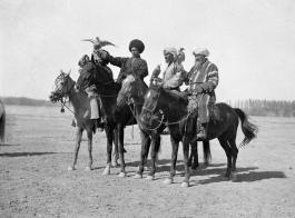 Competitions on falconry of Khivan khan by photographer Paul Nodar in 1890 M