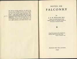 Notes on Falconry by J.E.Mellor, M.A.
