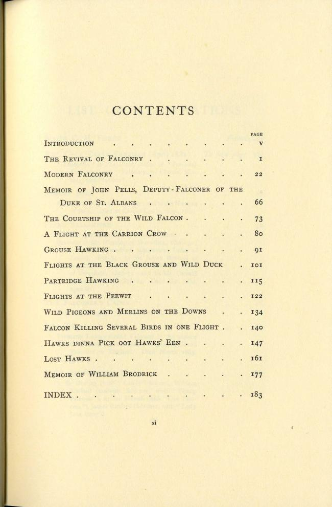 Reminiscences of a Falconer by Major C.H.Fisher TOC