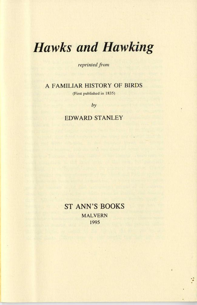 Hawks and Hawking By Edward Stanley