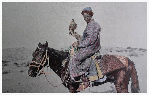 A Chinese hunter with Falcon (Photography by C.G. Mannerheim, 1906 - 1908)