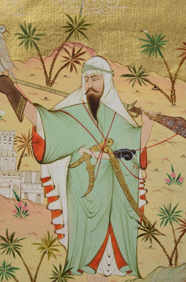 19th Century Persian Ottoman Miniature Painting Falconer Rifle Swords Daggers