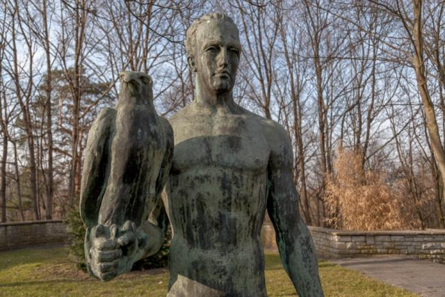 Man with an eagle in Olympiapark in Berlin, Germany