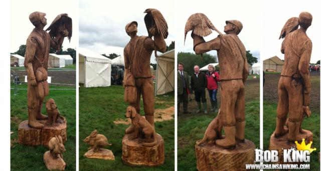 Wooden falconer made by Bob King. Summer, Washington, USA.