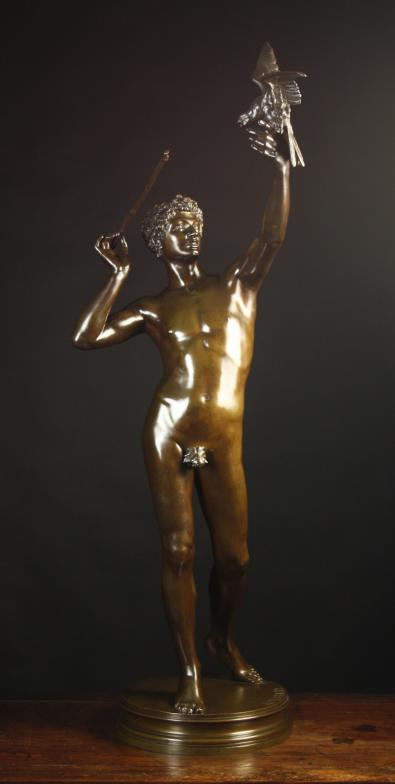 A Large Late 19th Century Bronze Sculpture of male nude by Adolphe Martial Thabard (1831-1905).
