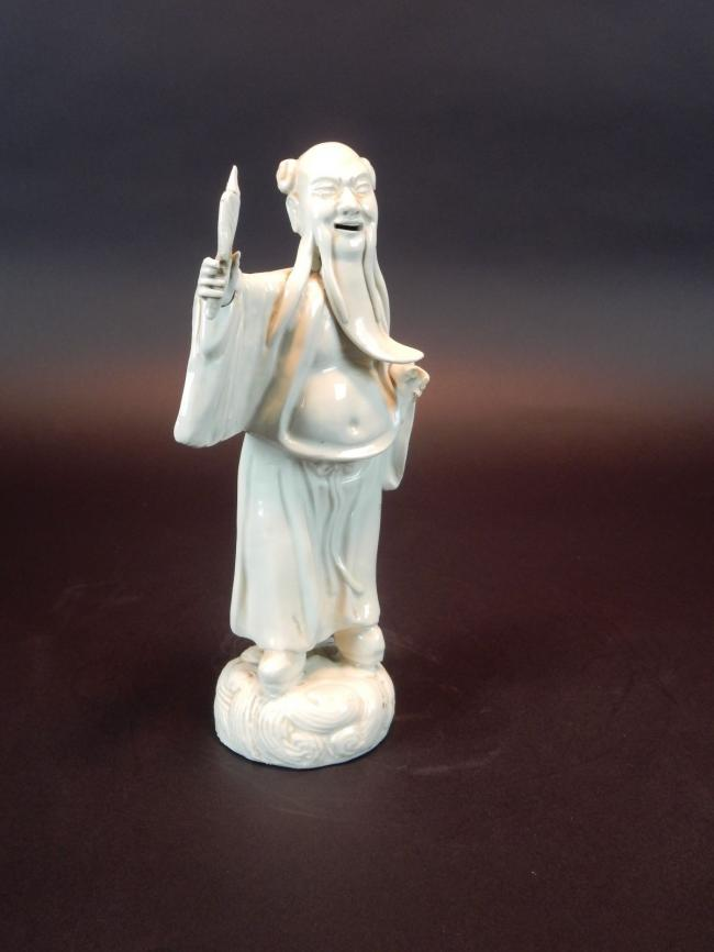 Antique Chinese Porcelain Statue of Scholar removable hands 9 inches. Signed 3