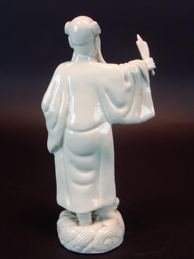 Antique Chinese Porcelain Statue of Scholar removable hands 9 inches. Signed 4