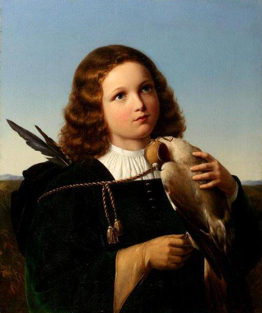 Young Boy With A Falcon by German XIX Century (unsigned)