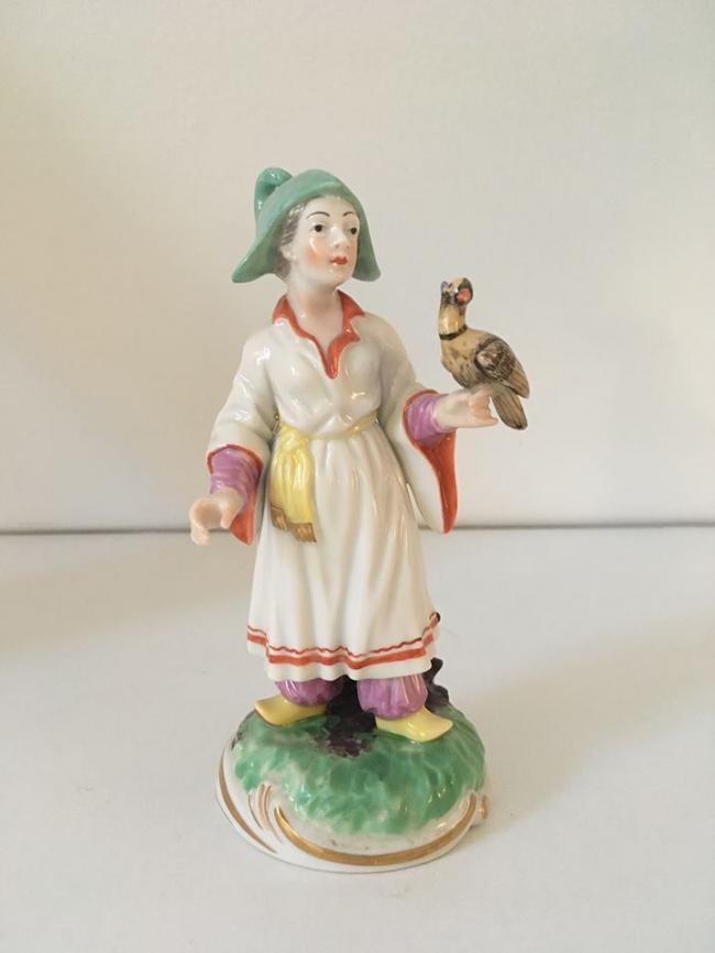 Ludwigsburg Porcelain Figurine of a Chinese Falconer