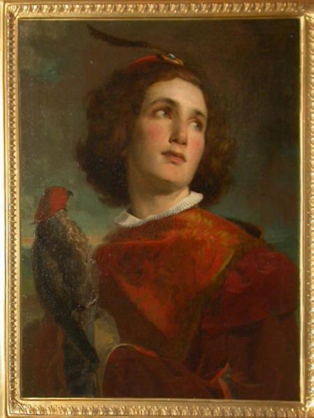 Young fifteenth in costume with a falcon on his arm by Tranquilla Cremona in circa 1859