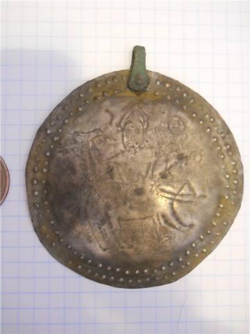 Badge (brass) with a falconer from Perm Animal Painting School 2