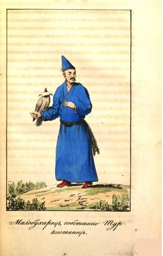 The Uyghurian (Little-Bukharian strictly Turkestanian) with a hunting bird