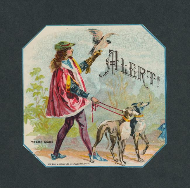 Vintage Hunting Dogs & Falconry on Original Antique Cigar Box Label Art