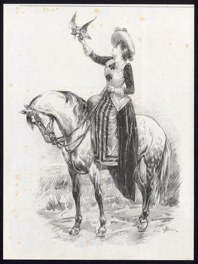 Lady falconer made by A. Sandoz after anonymous artist in c. 1880