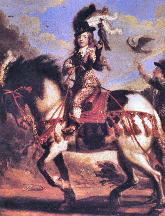 Portrait of the young King Louis XIV on horse with falcon departing for the hunt, 1647