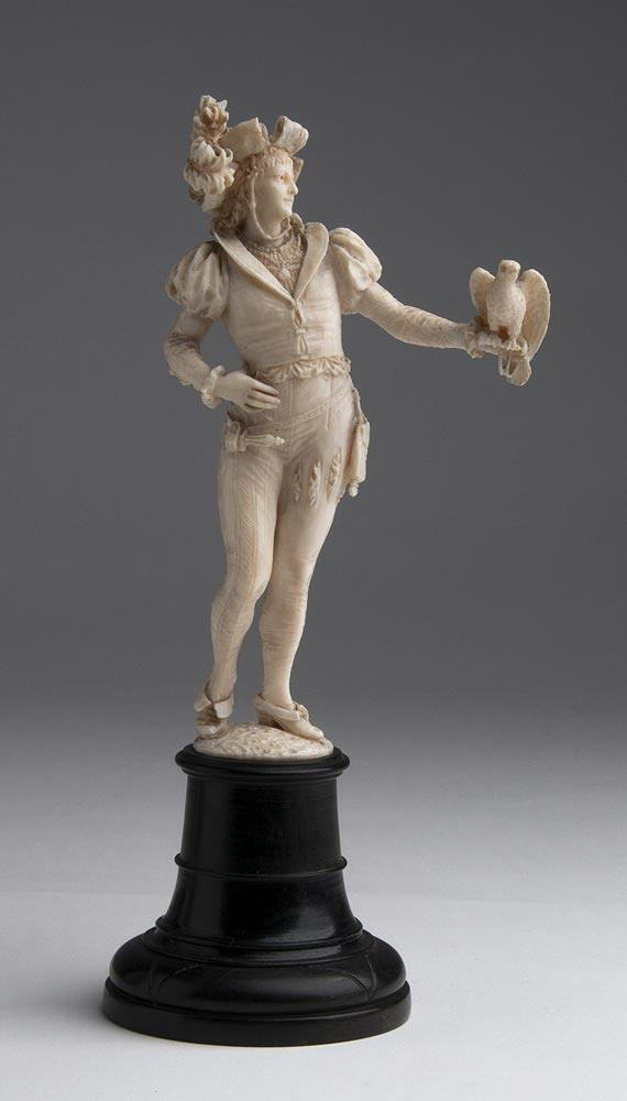 A carved ivory figure of a falconer - W. Haebler, Switzerland