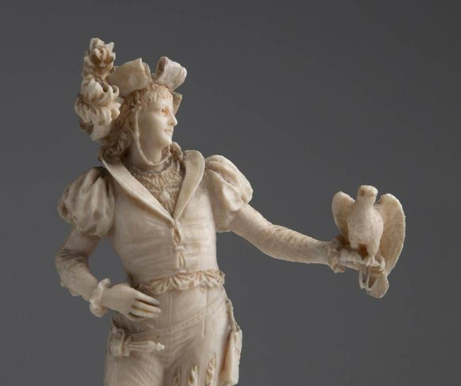 A carved ivory figure of a falconer - W. Haebler, Switzerland 2