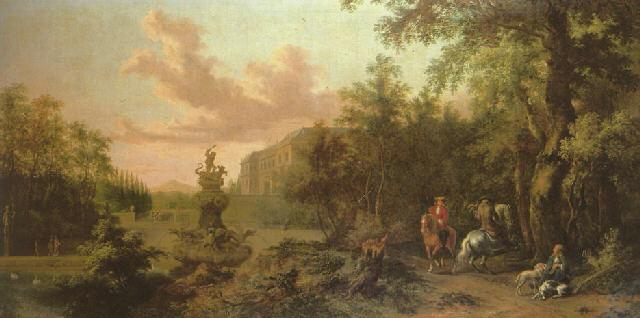 A hawking party in a wooded parkland with a view of a water fountain and a villa beyond. ca. 1680