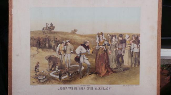 Falconry antique 19th century Zeeland school print with image of falconry Hawking Loo Club