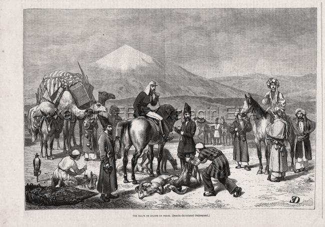Iran Persian Hunt with Falconry, Hookah, 1870s Antique Engraving Print & Article 1