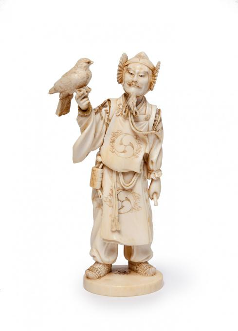 Japanese ivory statue of falconer by unknown artist of 19th century 1