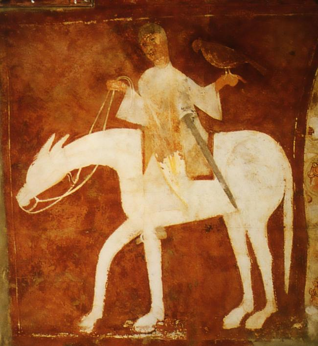 The courtly image of the falconer, as in this painting from San Baudelio de Berlanga