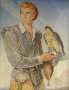 The Falconer by Rosemary Sutcliff (1920-1992) miniature painting made in 1952