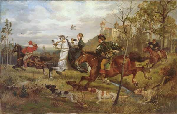 Falconry Lot 12 made in 1886 with size 91,5 Ñ… 141. Technique: Canvas, oil