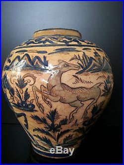 Very fine Qajar (1785-1925) Islamic Middle East ceramic vase with Falconry