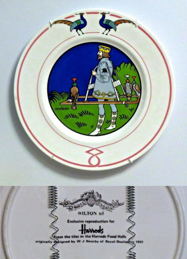 Falconry scene on the plate by Roayl Dalton of 1901 as Harrod's promotion