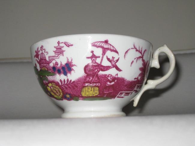 Antique Sunderland luster Tea Cup chinoiserie Figures with falconry bird 2