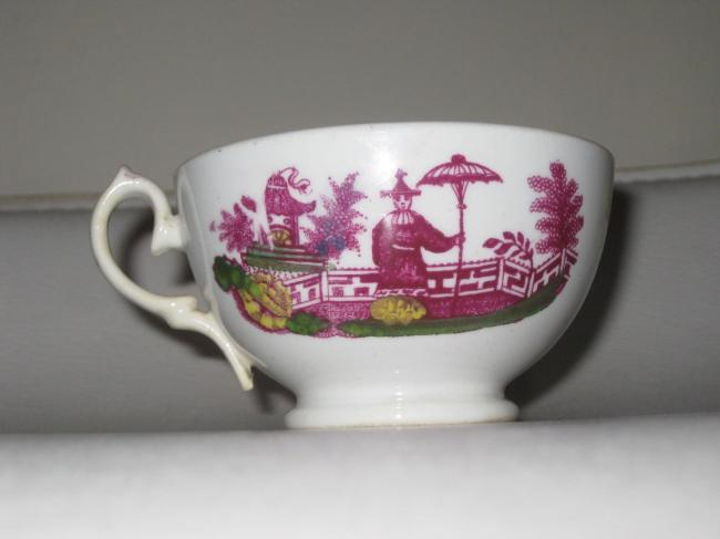 Antique Sunderland luster Tea Cup chinoiserie Figures with falconry bird