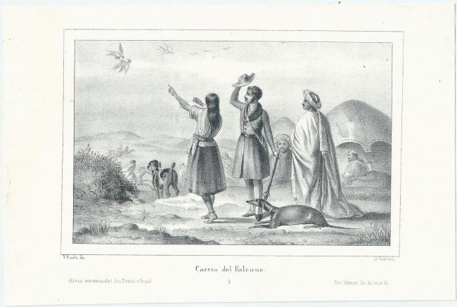 1840 HUNTING FALCONE lithography Victor Adam (1801-1867) falconry falconry