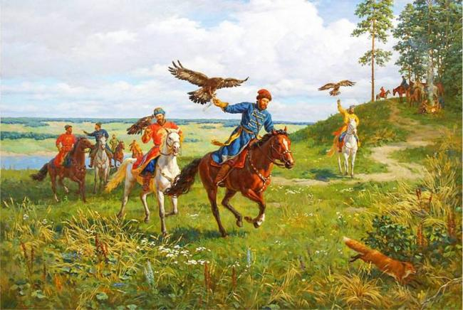 Falconry by Vladislav Nagornov born in 1974