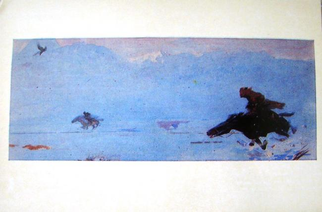 Hunting with Golden Eagle by Kanafia Timir-Bulatovich Teljanov (1927-2013) large