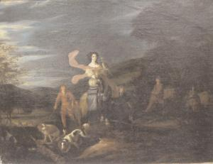 Young woman chasing a falcon and surrounded by her spaniels by A.C.Beeldemaker