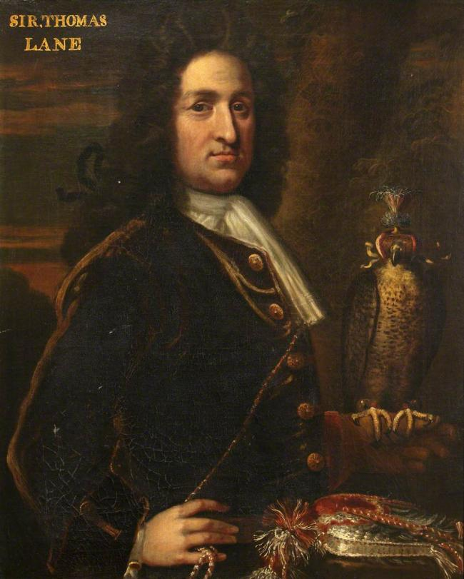 Sir Thomas Lane (d.1715), of Bentley, with a Falcon by Sir Godrey Kneller - about 1680