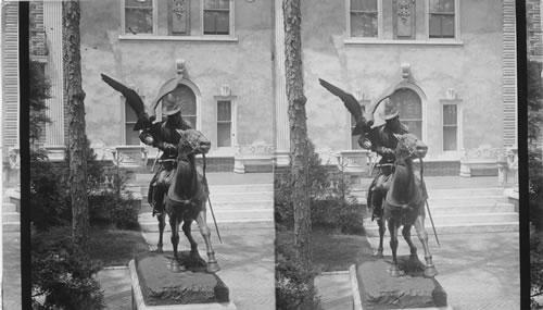 Beautiful bronze statue statues representing falconer - in front of Mr. Gould's home. Lakewood, New