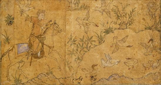 "Partly colored drawing. ""Mounted Falconer Hunting Ducks"" Iran; c. 1420"