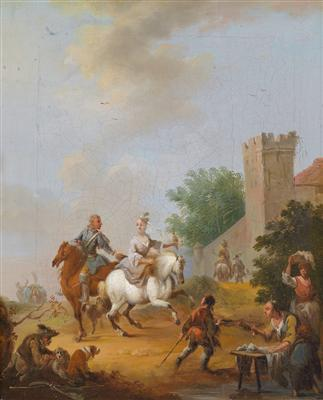 Two equestrian scenes by Austrian artist August Querfurt (1698-1761)