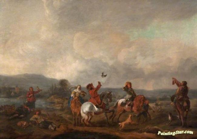 Landscape with Falconers, Art Painting by Philips Wouwermans
