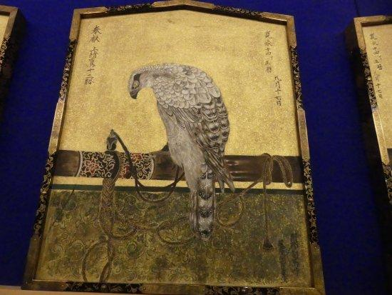 Beautiful drawing of falconry from Kawagoe City Museum in Japan