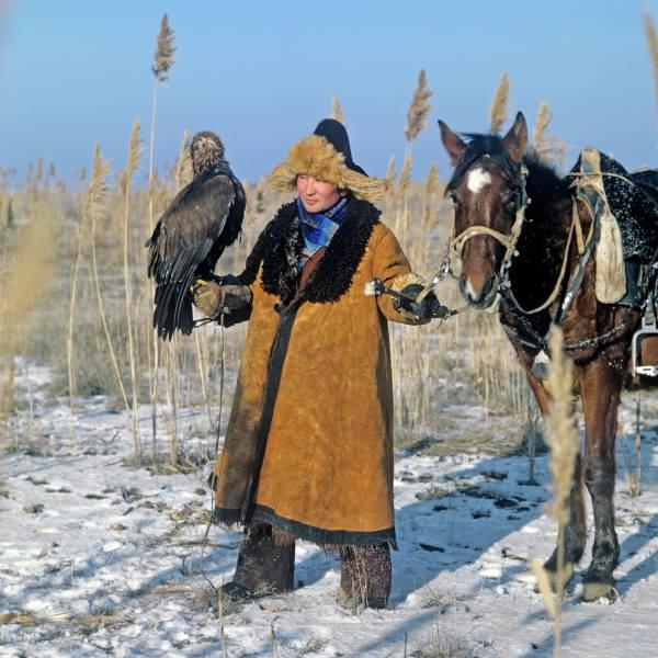 Falconer with GE and horse. Photo by Iosif Budnevich in the 1980s
