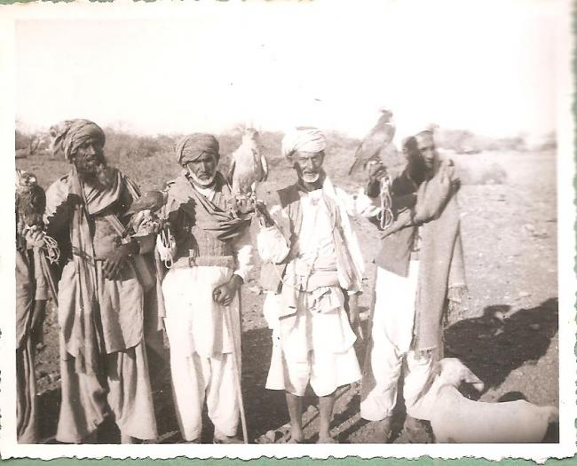 Falconers with falcons and hawks photographed by Eustace Poles in Kashmir in 1945-1946