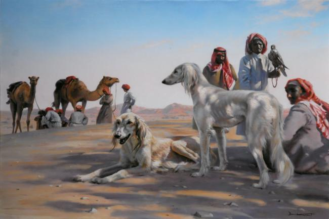 The Falcon Hunt by Donald Grant (1930-2001)